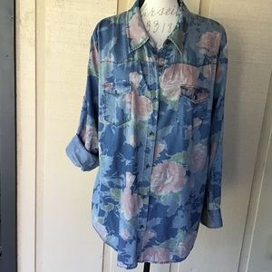 Chambray Floral Button Down